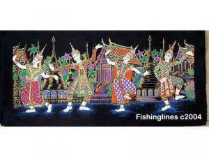 THAI SILK Large Silkscreen  Wall Hanging SIAM VILLAGE DANCERS #3 � FREE Shipping WORLDWIDE