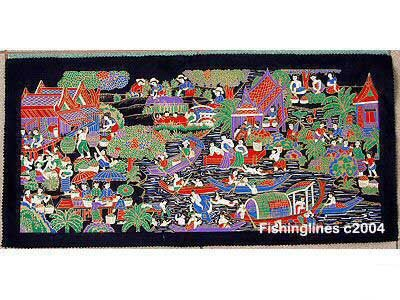 THAI SILK Large Silkscreen Wall Hanging LIFE at the RIVER #1 � FREE Shipping WORLDWIDE