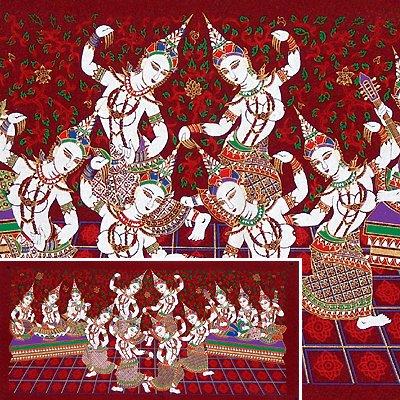 THAI SILK Large Silkscreen Wall Hanging SIAM DANCE MUSIC GIRLS #5 Red� FREE Shipping WORLDWIDE