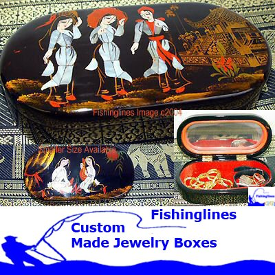Lacquer Ware LARGE OVAL Jewelry Box with inlay Mother of Pearl � FREE Shipping WORLDWIDE