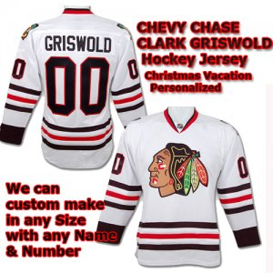 Christmas Vacation Clark Griswold XL White Hockey Jersey