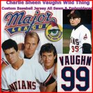 Charlie Sheen Cleveland Indians Vaughn 99 Baseball Jersey Medium