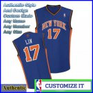 New York Knicks Authentic Style Away Jersey Blue 17 Jeremy Lin Small to 2X
