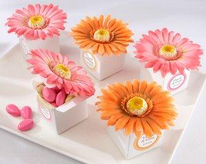 """Daisy Delight"" Gerbera Daisy Favor Box (Bright Orange) - Set of 24"