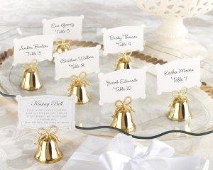 Gold Kissing Bells Place Card/Photo Holder (Set of 24)
