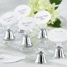 """Lovebirds"" Silver-Finish Kissing Bell Place Card Holder (Set of 24)"