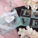"""Clearly in Love"" LOVE Glass Coasters (Set of 2)"