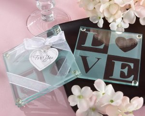 """""""Clearly in Love"""" LOVE Glass Coasters (Set of 2)"""