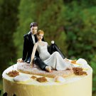 Romantic Couple Lounging On Beach Figurine