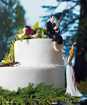 Groom Hooked on Love Wedding Cake Topper