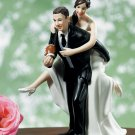 Playful Football Couple Figurine