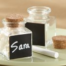 """Chalkboard"" Glass and Cork Favor Jars (Set of 12)"