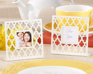 """Geometric Lattice"" White Photo Frame"