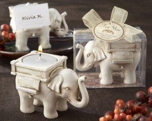 �Lucky Elephant� Antique Ivory-Finish Tea Light Holder