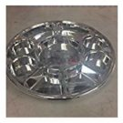 9 Compartments Silver Round Disposable Party Tray/ Thali/ Plates - 50 Pack