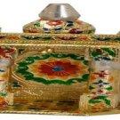 "Gold Meenakari Mini Indian Home Pooja Mandir  - 6"" X 5"" X 10"" (Small) ,Puja Ghar"