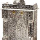 "Silver Mini Indian Home Pooja Mandi- 8"" X 5"" X 13"" (Medium), Pooja Ghar"