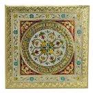 Meenakari Puja Bajot/ Table/Chowki (Hindu Pooja) -Vintage Gold Bajot 12 X 12 X 5