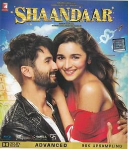 Shaandaar Hindi Blu Ray Stg: Shahid Kapoor, Alia Bhatt - 2015 Bollywood Film