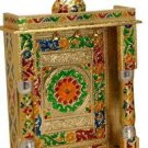 "Gold Meenakari Mini Indian Home Pooja Mandir  - 10"" X 6"" X 14"" (Large)"