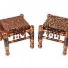 Walnut Finish stool,Bar Stool, Set Of Two Stools