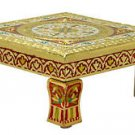 Meenakari Puja Bajot/ Table/Chowki (Hindu Pooja) -Vintage Gold Bajot 18 X 18 X 5