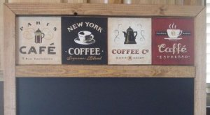 CAFE COFFEE Chalk Board with Chalk Tray