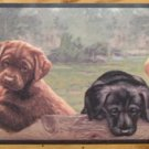 Puppys on the Fence   Chalk Board with Chalk Tray