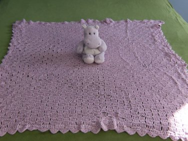 Purple Shimmer Diagonal Stitch Baby Afghan