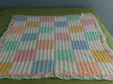 Baby Pastel Colored Checkered Crib Afghan