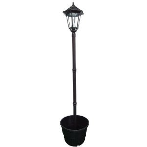 Gamasonic GS-99PL Black Windsor 87-Inch Solar Lamp 18-Inch Planter White LED's FREE SHIPPING