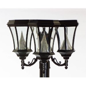 Gamasonic GS-94F3 Victorian Solar 3 lamps, White LED's, Black Finish FREE SHIPPING