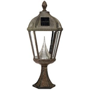 Gama Sonic Royal GS-98P Alum 5LT Solar Photocell Outdoor Pier Mount Light in Weathered Bronze