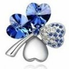 Swarovski Crystal Four Leave Clover Brooch