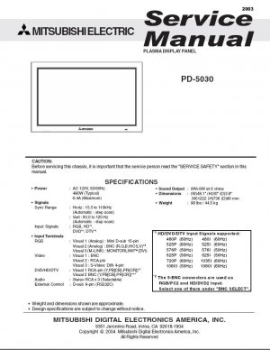MITSUBISHI PD-5030 PLASMA TV SERVICE REPAIR MANUAL