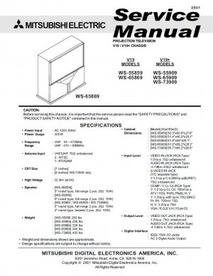MITSUBISHI WS-55859 WS-65869 WS-55909 WS-65909 WS-73909 TV SERVICE REPAIR MANUAL