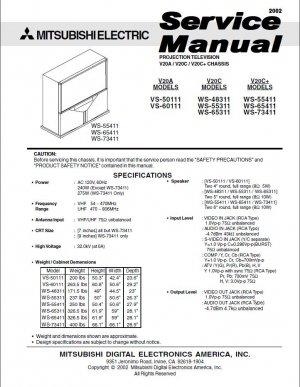 MITSUBISHI VS-50111 VS-60111 WS-48311 WS-55311 WS-65311 WS-55411 WS-65411 WS-73411 SERVICE MANUAL