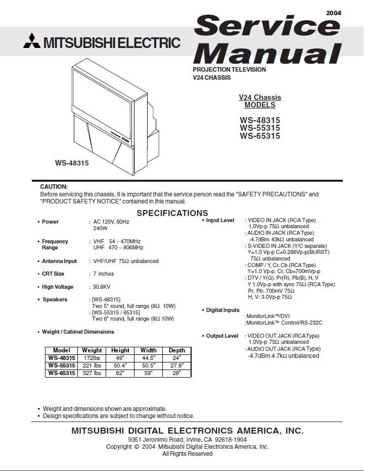 Mitsubishi electric dlp wd-52631 owner's manual pdf download.