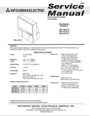 MITSUBISHI WS-48315 WS-55315 WS-65315 TV SERVICE REPAIR MANUAL