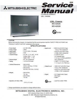 MITSUBISHI WD-52526 WD-62526 TV SERVICE REPAIR MANUAL
