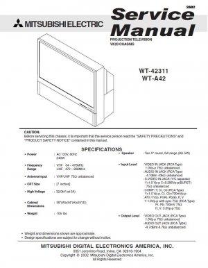 MITSUBISHI WT-42311 WT-A42 TV SERVICE REPAIR MANUAL