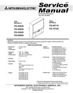 MITSUBISHI VS-45609 VS-50609 VS-55609 VS-60609 VS-60719 VS-70709 TV SERVICE REPAIR MANUAL