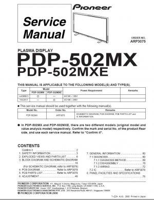 PIONEER PDP-502MX PDP-502MXE SERVICE REPAIR MANUAL OEM