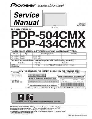 PIONEER PDP-504CMX PDP-434CMX TV SERVICE REPAIR MANUAL