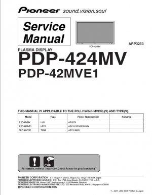 PIONEER PDP-424MV PDP-42MVE1 TV SERVICE REPAIR MANUAL