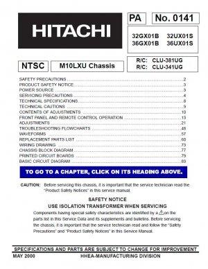HITACHI 32GX01B 36GX01B 32UX01S 36UX01S SERVICE REPAIR MANUAL