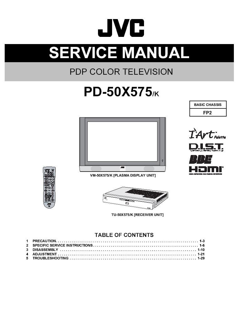 jvc plasma pd 50x575 pd 50x575 k tv service repair manual. Black Bedroom Furniture Sets. Home Design Ideas