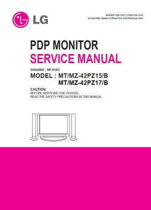 LG MT-42PZ15/B MT-42PZ17/B MZ-42PZ15/B MZ-42PZ17/B PDP TV SERVICE REPAIR MANUAL