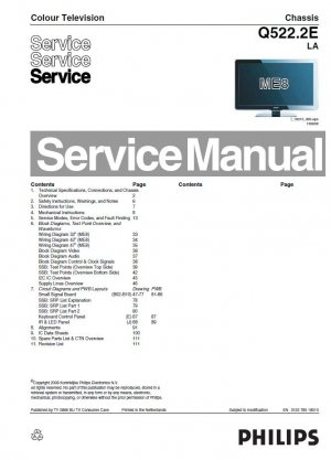 PHILIPS Q522.2E LA ME8 LCD TV SERVICE REPAIR MANUAL