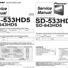 PIONEER SD-533HD5 SD-643HD5 TV SERVICE REPAIR MANUAL